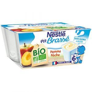 Nestlé P'tit brassés pomme pêche bio, dès 6 mois