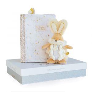 Doudou et Compagnie Lapin de sucre blanc - coffret protège carnet de santé + doudou