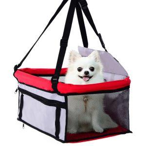 Pawhut Porte-voiture siège auto sac de transport pour chiens chats sac de transport déhoussable lavable pliable rouge gris