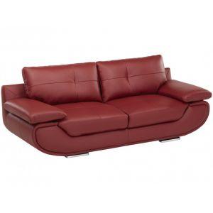 LINEA SOFA Canapé 3 places cuir luxe ORGULLOSA - Rouge