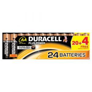 Duracell Jeu de piles 20 + 5 gratuites Alcaline 1,5V LR06 AA Plus DUR018426