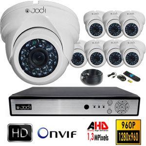Jod-1 Kit vidéosurveillance AHD 960P 8 caméras dômes en 1.3MP + Disque dur de 4To.