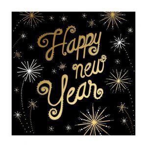 12 serviettes Happy New Year (33 x 33 cm)