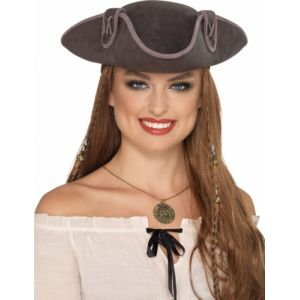 CHAPEAU adulte PIRATE TRICORNE GRIS