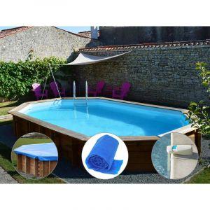Sunbay Kit piscine bois Safran 6,37 x 4,12 x 1,33 m + Bâche hiver + Bâche à bulles + Alarme