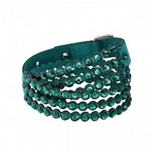 Swarovski Bracelet 5511700 - Iconique Slake Cristaux Verts Tissu Alcantara Femme