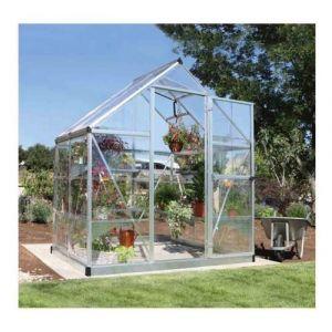Palram Serre de jardin en polycarbonate Harmony 2,33 m², Couleur Argent, Ancrage au sol Non - longueur : 1m26