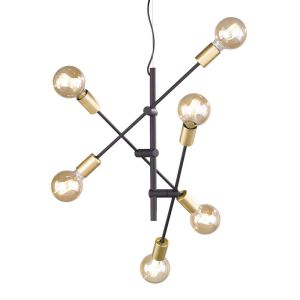 Trio Suspension 6 lampes design Cross Noir Métal 306700632