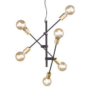 Image de Trio Suspension 6 lampes design Cross Noir Métal 306700632