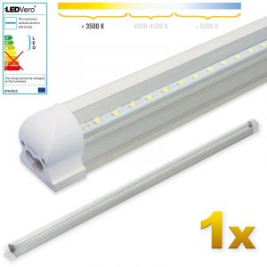 Ledvero 1x SMD réglettes lumineuses LED en blanc chaud T8 G13 tube couvercle transparent - 120 cm, 18 W, 1800lumen- prêt pour l'installation