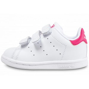 Adidas Stan Smith, Baskets Mixte Bébé, Blanc (Footwear White/Footwear White/Bold Pink), 26 EU
