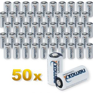 Nemaxx 50x 3V Photo Lithium Batterie im Blister CR123A Photobatterie 1700 mAh