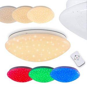 Hofstein Plafonnier LED Brighton effet ciel étoilé à couleurs variables - Spot de plafond rond avec télécommande - plafonnier avec LED RGB intégrées - 850 lumens -12 watts - 3000K- Tamisable - veilleuse
