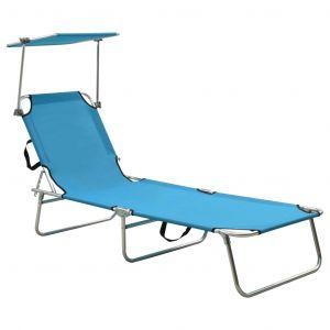 VidaXL Chaise longue pliable avec auvent Acier Turquoise et bleu