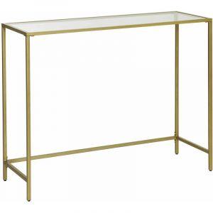 Songmics VASAGLE Table console en verre trempé - cadre métallique - 100 x 35 x 80 cm (L x l x H) - robuste - pieds réglables - Doré LGT26G