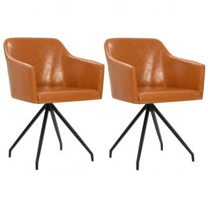 VidaXL Chaise pivotante de salle à manger 2 pcs Marron Similicuir