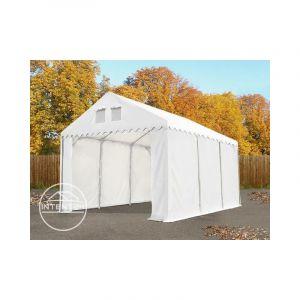 Intent24 4x6m tente de stockage, PVC env. 550g/m², H. 2,6m, vert foncé, statique : terre