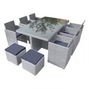 DCB Garden Porto - Salon de jardin 6 places en résine tressée/verre