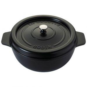 Godin Cocotte ronde en émail - D: 27cm - noir satiné