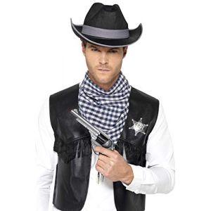 Smiffy's 45508LXL Déguisement Homme Kit du Cowboy, Noir, Taille L/XL