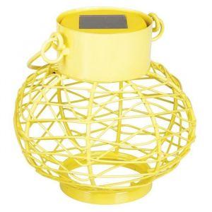 Solarline Lanterne solaire en métal - Jaune - Lanterne solaire - Matière : métal et verre - 1 LED blanc - Panneau solaire amorphe