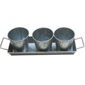 Cotton wood Set de 3 pots et 1 plateau à poignées - Acier galvanisé - Set de 3 pots et 1 plateau à poignées - Acier galvanisé - Esprit zinc