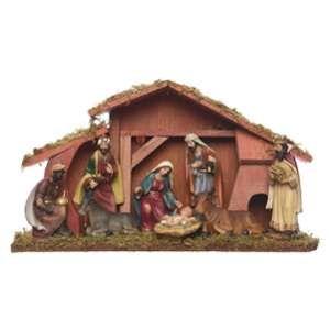 Crèche de Noël Bois et 8 Santons 40 cm