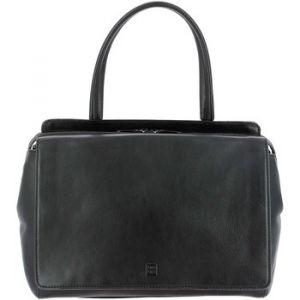 Dudu Grand Sac pour femme Elegant en cuir véritable Spacieux Double-poche extérieure avec Poignée et Bandoulière amovible Noir