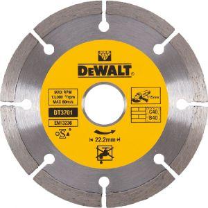 Dewalt Disques diamantés segmentés pour tronçonnage à sec/Diamètre:115 mm / Alésage:22.2 mm / Hauteur des segments:7 mm / Largeur des segments:1.75 mm / Quantité par emballage:1 / Quantité minimale de commande:1 DT3701