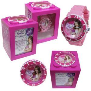 Kids Euroswan WD10494 - Coffret cadeau : réveil, tirelire, cadre photo et montre pour fille Violetta