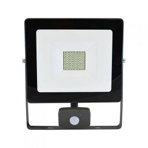 Vision-El Projecteur LED 50W (450W) IP65 Plat Blanc jour avec détecteur