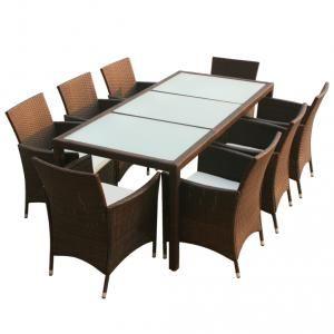 VidaXL Ensemble meuble de jardin en poly rotin 17 pcs marron