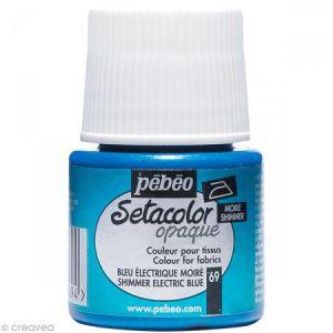 Pebeo Peinture textile opaque Setacolor 45ml 69 - Bleu électrique moiré