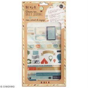 Toga Mon Carnet de Voyage Kit Accessoires Bullet Journal, Papier/Plastique, Bleu-Beige-Orange, Pack : 15,8x30,5cm