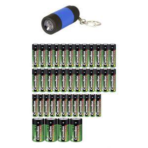 Camelion Lot de piles LR03, LR6, LR14 20 pc(s) avec lampe de poche