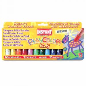 Instant Playcolor - Gouache Solide en stick - 12 couleurs - 10 g