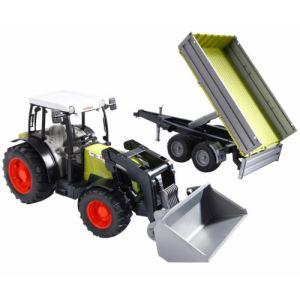 Bruder Toys 2112 - Tracteur Claas 267F avec chargeur frontal et remorque