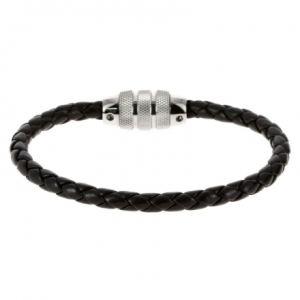 Rochet B360160 - Bracelet en acier et cuir pour homme