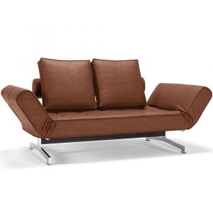 Inside75 Canapé design GHIA CHROME Leather Look_Brown Faunal convertible lit 210*80cm