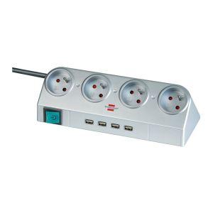 brennenstuhl 1153541134 multiprise desktop power 4 prises avec interrupteur et 4 ports usb 1. Black Bedroom Furniture Sets. Home Design Ideas