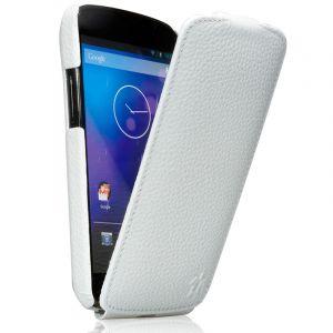Issentiel Housse Google Nexus 4 Blanche cuir grainé