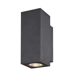 SLV ENOLA, applique extérieure, carré, S, anthracite, LED, 7W, 3000K/4000K, IP65, up/down - Lampes sur pied, murales et de plafond (extérieur)