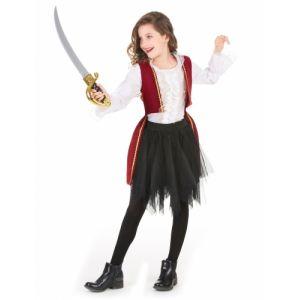 Déguisement pirate velours rouge pourpre et tutu noir fille 6 - 7 ans (M)