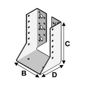 Alsafix Sabot de charpente à ailes intérieures (P x l x H x ép) 70 x 64 x 128 x 2,0 mm - AL-SI064128