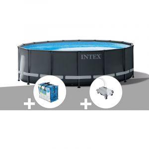 Intex Kit piscine tubulaire Ultra XTR Frame ronde 5,49 x 1,32 m + Bâche à bulles + Robot nettoyeur