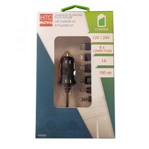 HTC Chargeur Allume-cigare Noir 6 Connecteurs + Câble 1 M