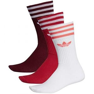 Adidas Lot de 3 paires de chaussettes Crew Originals Rouge / Blanc - Taille 35-38
