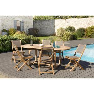 Macabane 1 table ovale extensible 150 / 200 x 90 cm - 3 lots de 2 chaises pliantes en textilène de couleur taupe