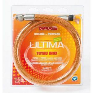Dipra Tuyau flexible en inox pour gaz butane propane (1,50 m) - Longeur : 1,50 m