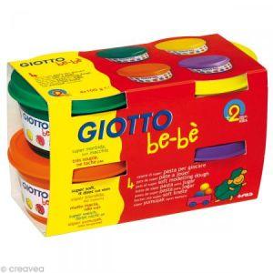 Giotto 4 pots de pâte à modeler be-bè rouge, jaune, rose, vert